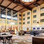 Our modern, spacious lobby is the perfect spot to lounge before or after a long day.