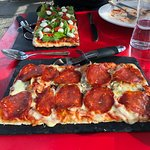 pizzas: pepperoni with mushrooms and primavera