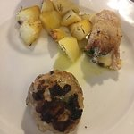 The meats: Pistachio chicken and lamb with roasted potatoes! Delicious