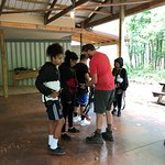 Gearing up and beginning the ascent to the zip lines.