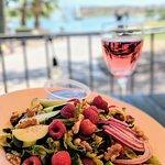Healthy, delicious berry salad with a Rosé