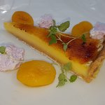 Lemon tart, apricots and lavender mousse.