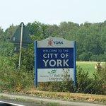 Road sign entering York