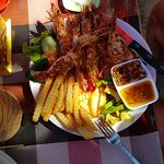 Delicious grilled prawns with fabulous sauces