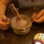 Smoking cocktail in a pan