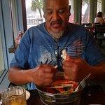 My Husband enjoying those crab legs