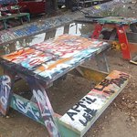 Graffiti is everywhere, even on the picnic tables