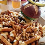 beer, burger and poutine