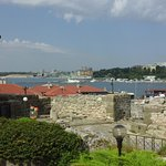 view across old ruins to new Nessebar