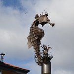 Giant copper seahorse next to Mures restaurant.