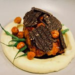 French Veal Sweetbread with Majimup Black Truffles and Roasted Hazelnuts