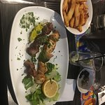 chicken and lamb kebab and chips