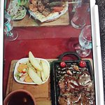 Garlic steak and mixed grill