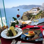 Delicious lunch, actually best in Santorini from our experience. And the view from the restauran