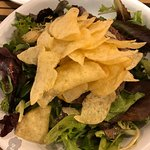"Thanks to BroS' comps :) my crunch ""fit"" burger w/potato chips & no cheese served on baby greens"
