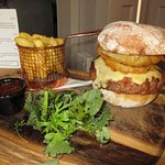 A boar burger at the White Horse Inn, Staunton