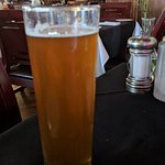 Perfect way to start off a Friday night meal, Cold tall draft beer!