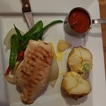 Special: chicken breast, spicey tomato sauce, jacket potato and vegs.... perfectly cooked!