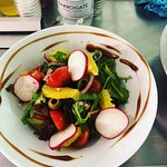 VEGAN Greek Salad w rocket,olives,radish rounds,orange segments, red onion & balsamic. ADD FETTA