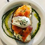Salmon & Cream Cheeae, OOZZ Egg, Dill & Lemon Oil