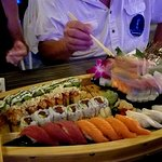 A close up of our sushi boat!