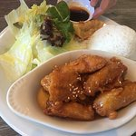 """Orange """"chicken"""" lunch special sub brown rice for white"""