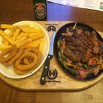 Saturday deal - Mix It Up - 8oz Rump Steak, chips and onion rings - £7.00