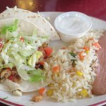Fish tacos with rice and beans