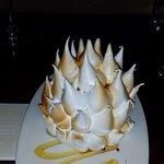 Extravagant baked Alaska flambe