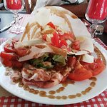 salade tomate/mozza/jambon cru