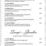 Speisekarte - Lamb - Lammgerichte - Scampi - Garnelen