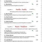 Speisekarte - Indische Spezialitäten