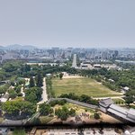 View from top of castle back to Himeji station