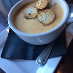 Beer cheese soup and sausage platter.