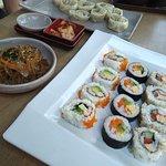 Menu C (Gimbap, japchae, kimchi) and veggie mandu