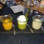 Cold Soup Trio: Pumpkin, Asparagus, Cauliflower