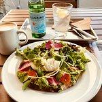 avocado toast, san pellegrino and cafe au lait