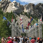 approaching the viewing stand at Mount Rushmore