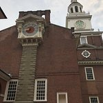 The clock on the west side of Independence Hall