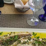 "Main dish: Venetian ""corvina"" (sea bass) in a lemon sauce"