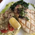 Swordfish with shrimp risotto