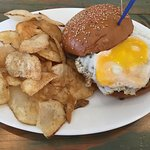 Shameless Burger (guacamole, fried egg, blue cheese) with house made chips