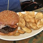 Game of Thrones Burger (brie, prosciutto, bacon) with house made chips