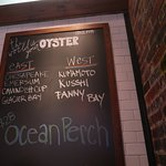 Seven different varieties of oysters on offer