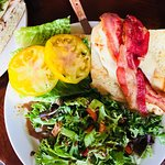 Chicken, bacon, cheese sandwich with salad
