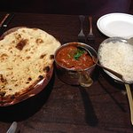 chicken curry + naan + rice