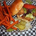 Fish sandwich with sweet potato fries