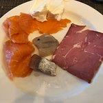 gravlax, cream cheese, smoked lamb, two types of pickled herring - yum!