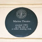 Historical fact outside the Marina Theatre.