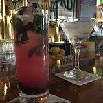 Blueberry mojito and Hendricks martini